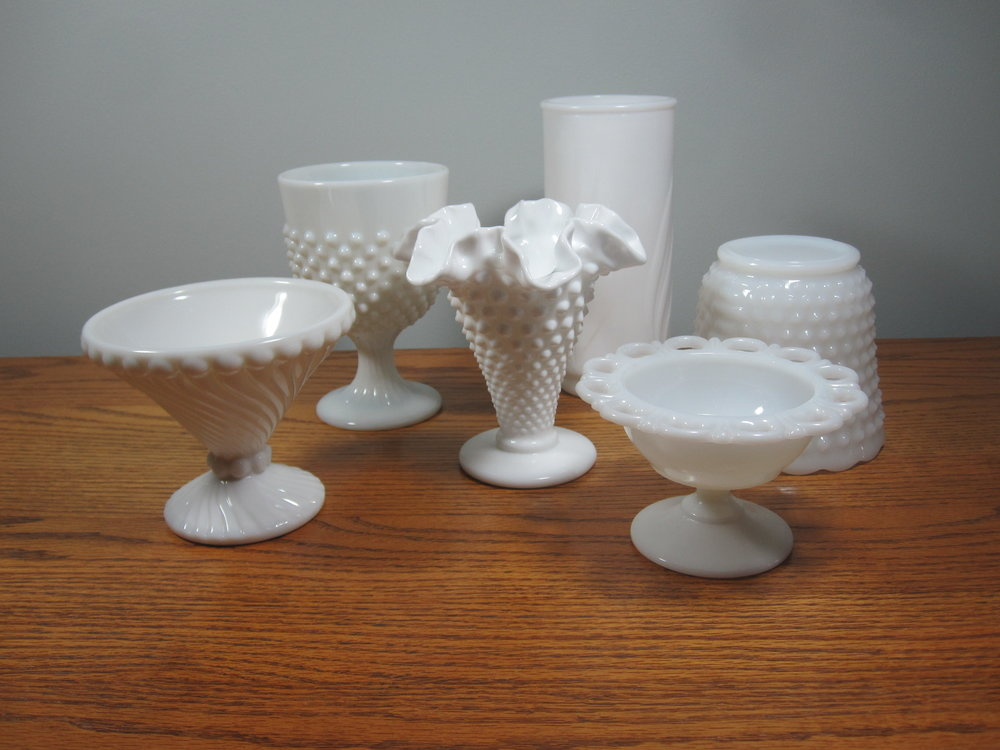 Milk Glass Bowls - Description ~ compotes & bowls from small to largeQuantity ~ 36Price ~ $2-$4