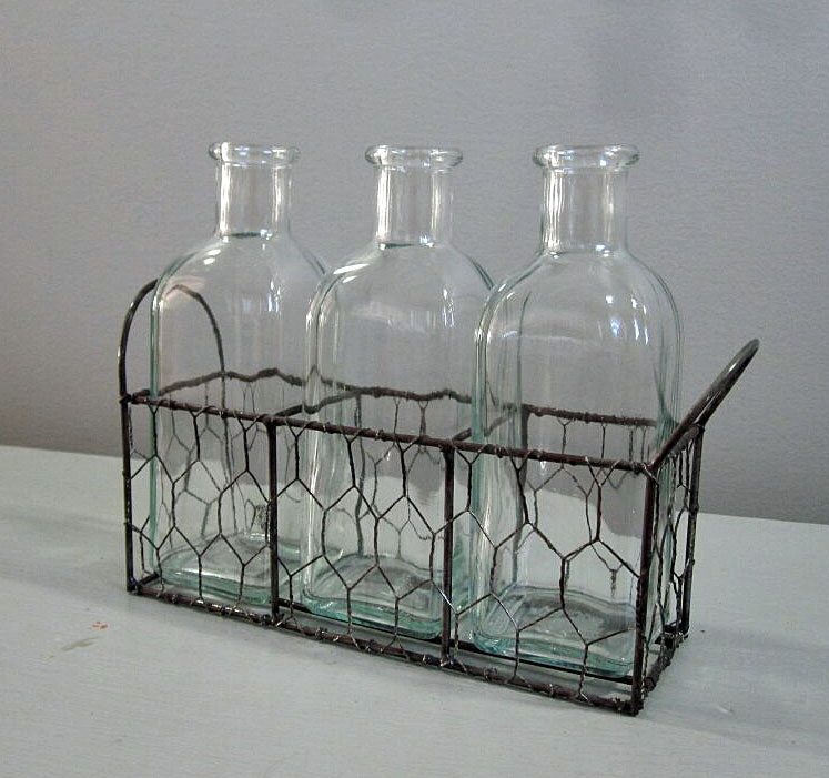 Bottles in Wire - Description ~ 3 bottles in wire holderQuantity ~ 3Price ~ $6
