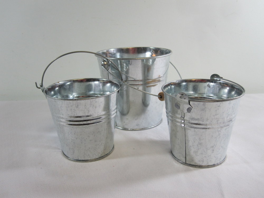 Galvanized Buckets - Description ~ small buckets for favors, candy, etcQuantity ~ 10Price ~ $1