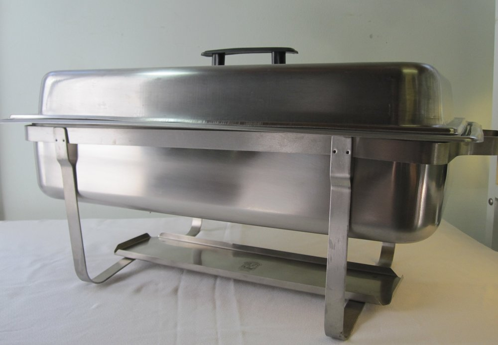 Chafing Pan - Description ~ stainless steel holds 1 full size pan or 2 1/2 pans or 3 1/3 pans. Comes with sterno that will heat buffet foods for up to 2 hoursQuantity ~ 6Rental Price ~ $12