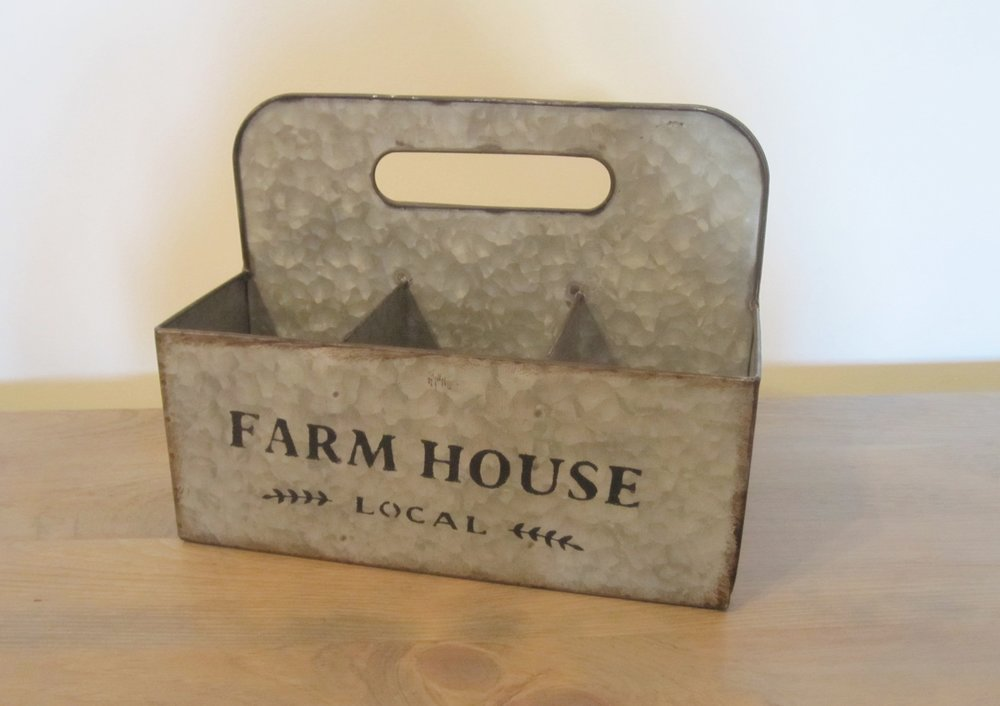 Farmhouse Tote - Description ~ 6 compartment tote; use for napkins, flatware, flowers....Quantity ~2Rental Price ~ $6