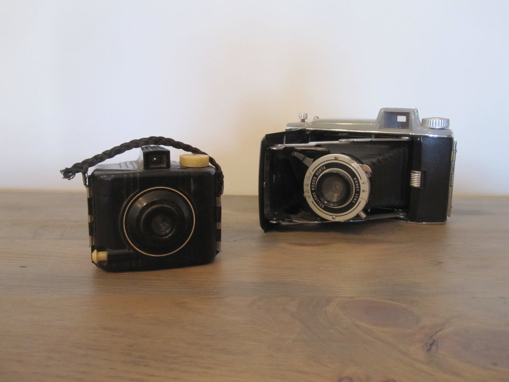 Vintage Cameras - Description ~ what better use than a photo booth display or memory table?Quantity ~ 2Rental Price ~ $5