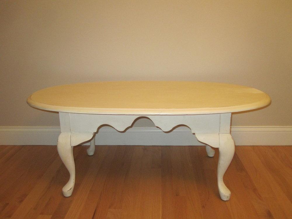 Lori Table - Description ~ low off-white rectangle tableQuantity ~ 1Rental Price ~ $15