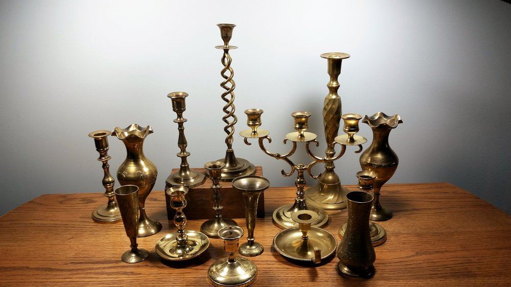 Brass candlesticks - Description ~ candleholders in a variety of heightsQuantity ~ 40+Price ~ varies