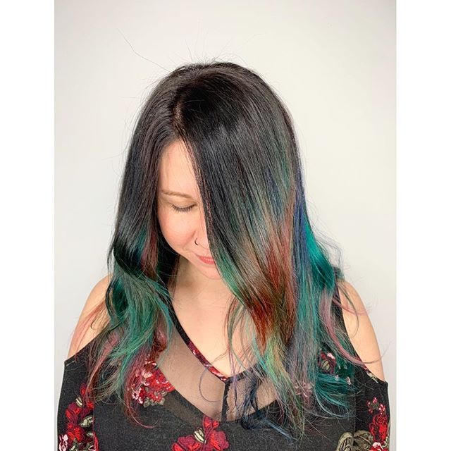 ROY-G-BALAYAGE // we are living for this rainbow balayage done by @sarah_cameron done with @pulpriothair & @davinesofficial  For bookings & consultations: CALL: 780-989-0204 TEXT: 587-988-8958 . . . . #YEGStylist #YEGHair #YEGSalon #BehindTheChair #BehindTheChairPics #BTC #BTCPics #Yeagers #YEGSalon #KevinMurphy #Davines #RAndCo #WhyteAvenueSalon #ModernSalon #BarberShop #Selfie #HealthyHair #InstaHair #HairDo #Haircut #ColorExpert #Brunette #Blonde #LongHair #HairCare #SalonSelfie #HairSalon #Hairstylist #Balayage #Hairstyle