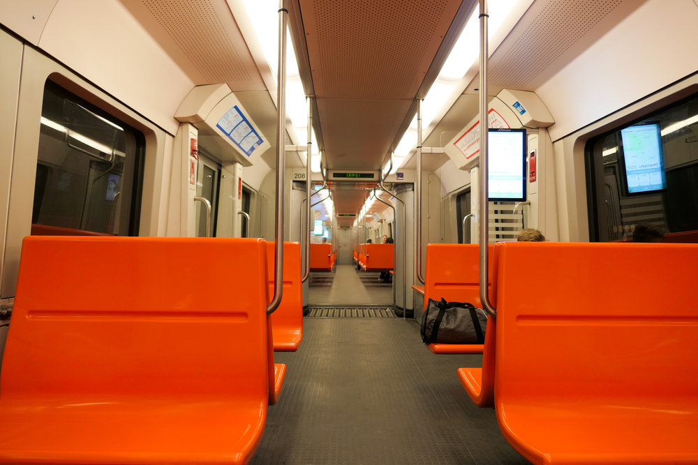 Boise State orange seats on the Metro