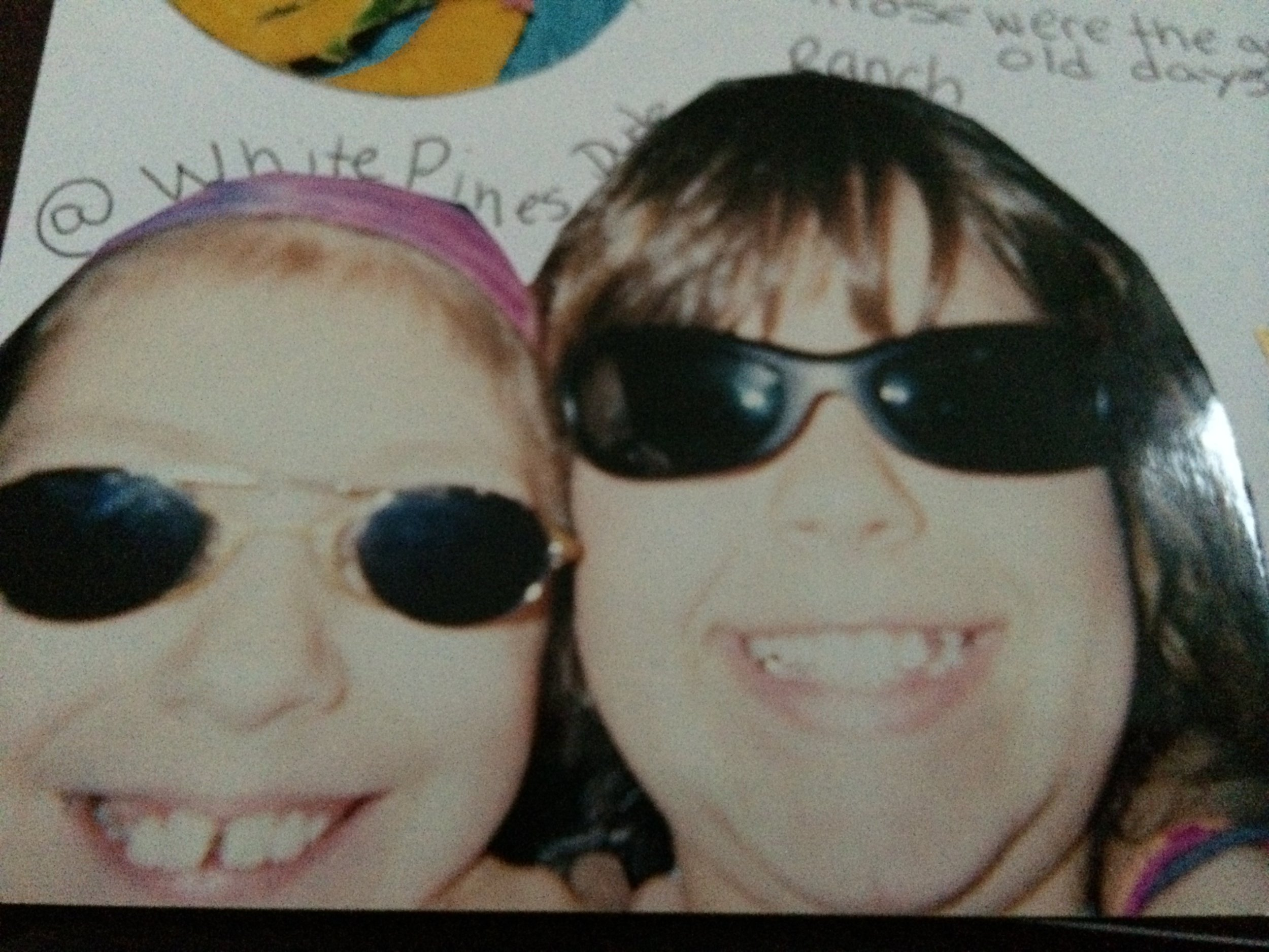 Courtney had cool kid sunglasses. I had weird ones that clipped on over my glasses.
