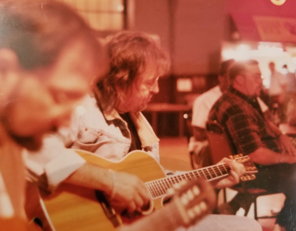 Ray Wylie Hubbard participates in the campfire jam, circa 2004