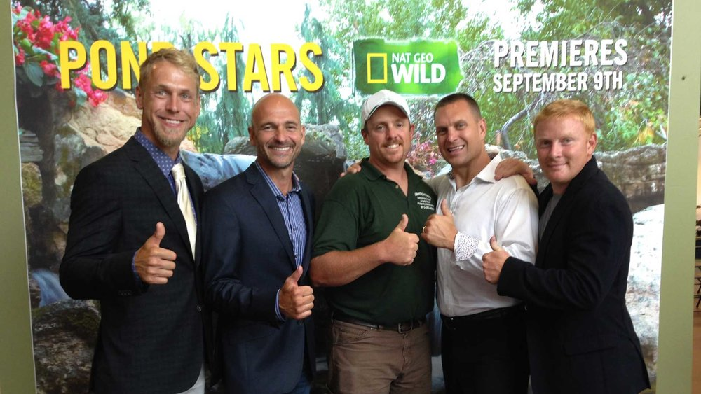 "Darren Tubito with the Aquascape Inc. crew before the premiere of their Nat Geo Show ""The Pond Stars"". Pictured l. to r.: Chris Hanson, Ed Beaulieu, Darren Tubito, Greg Wittstock, Brian Helfrich"