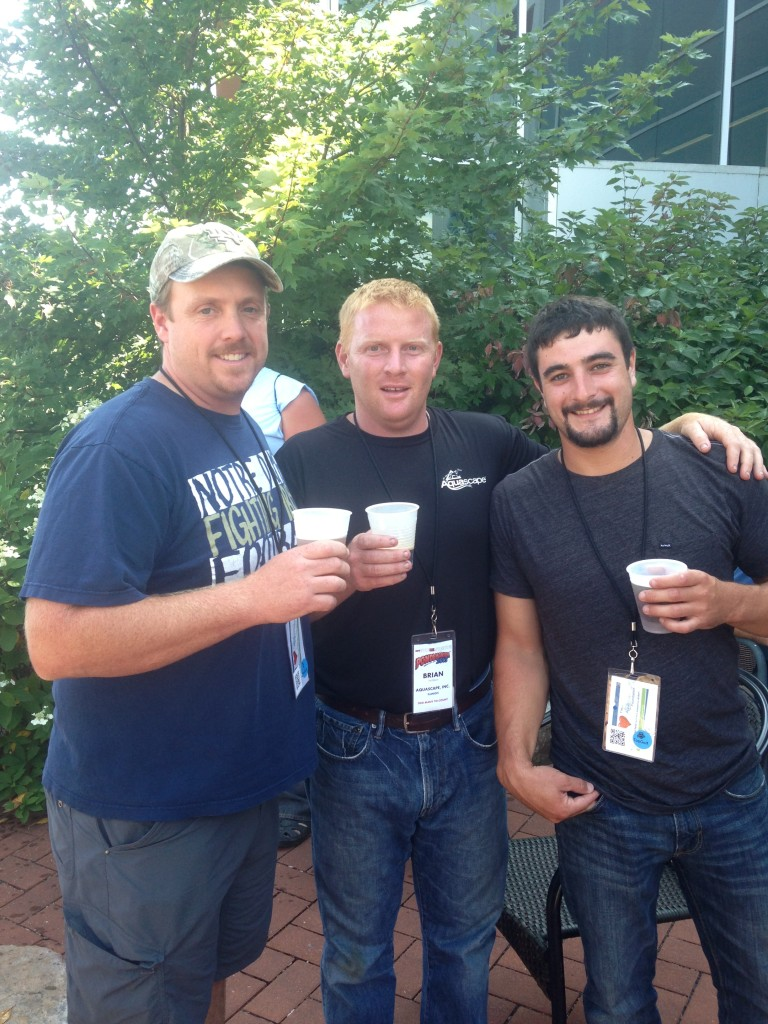 Darren and James with Aquascape Designs' Construction Manager, Brian Helfrich (middle).
