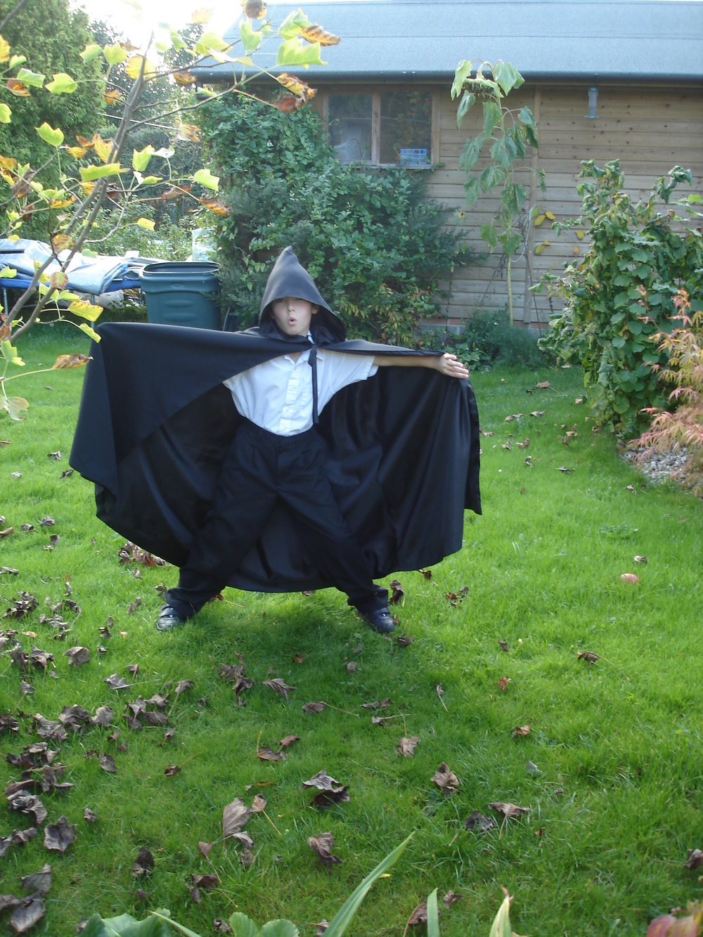 Caroline's youngest son in one of her first cloaks. He's now much older but can still wear the cloak to Halloween parties - it's just a bit shorter now!