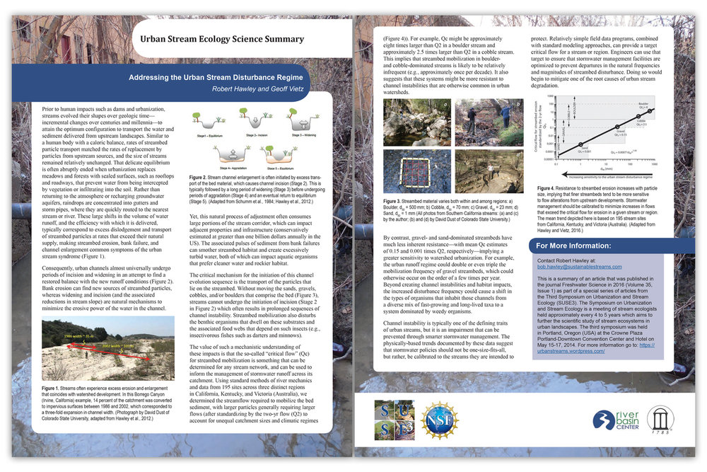 Sengupta, A.,  Hawley, R.J. , and Stein, E.D.  2018.  Predicting hydromodification in streams using nonlinear memory-based algorithms in southern California streams.  Journal of Water Resources Planning and Management , 144(1): 04017079.  Read article »