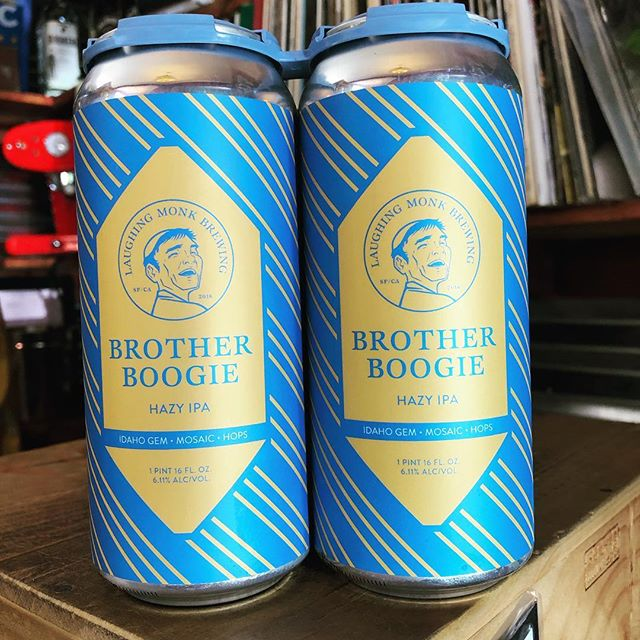 Just in time for the playoffs, #BrotherBoogie is in the house!! @laughingmonkbrewing #warriorstalk #craftbeer #northberkeley #hazybeer