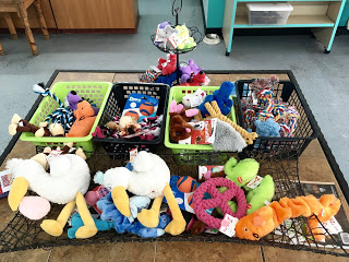 Stuff your dog's stocking with a few of these plushies found at  Stinky Dawg Wash . Each toy varies in price depending on size and style.