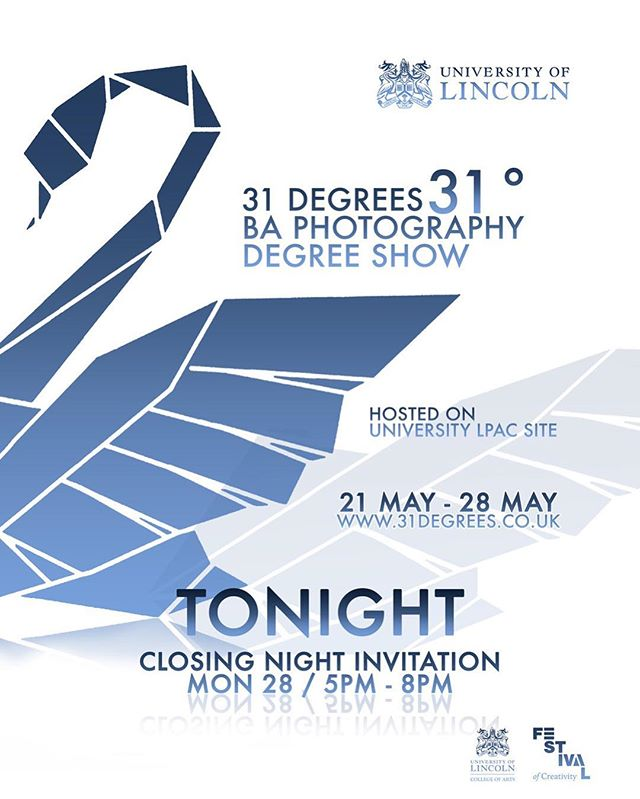 Closing Night Tonight!! Don't miss out!! Come along and celebrate with us outside LPAC in the shipping containers!  #photography #photographer #degreeshow #degreeshow2018 #festivalofcreativity #lincoln #universityoflincoln #tonight #31degrees #students #art #movingimage #film #closingnight #shippingcontainerexhibition