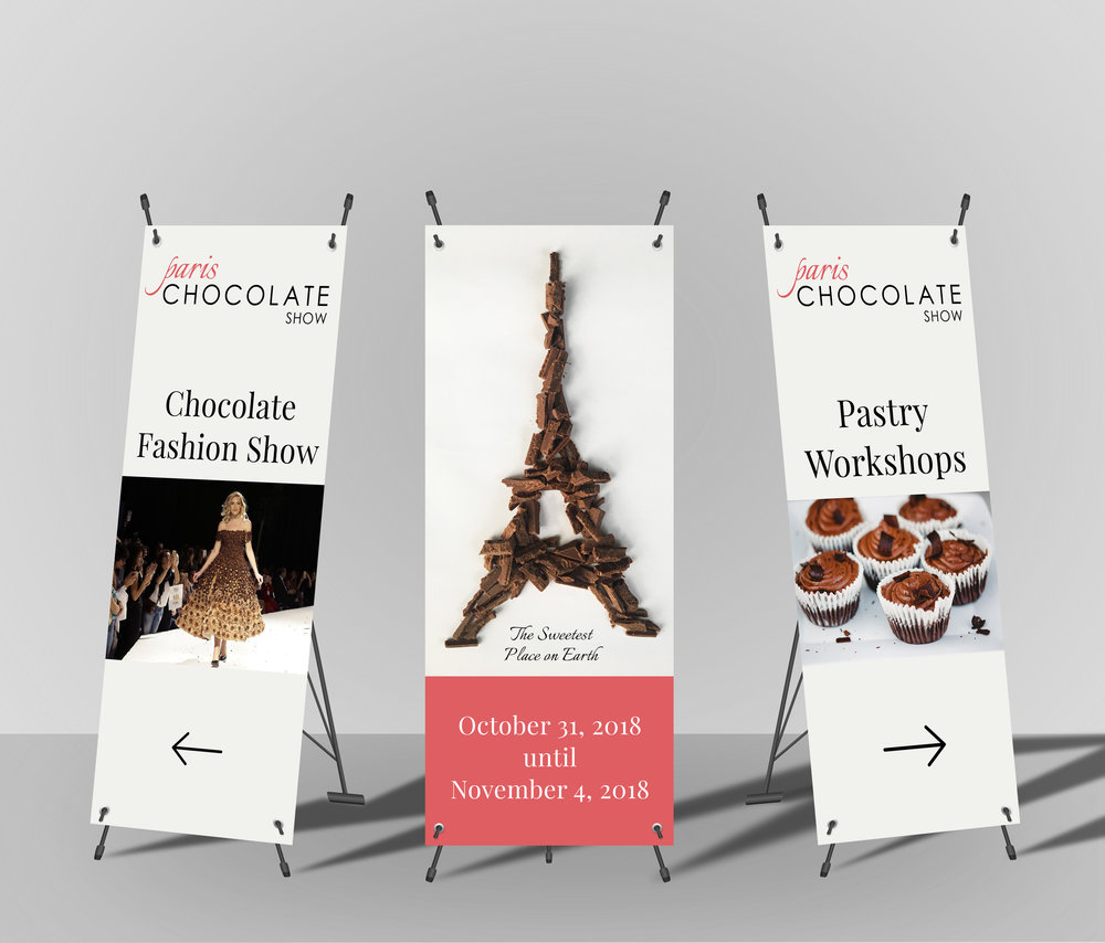 At a big event with a lot of programs and things happening, directional way-finding banners would be beneficial for everyone at the Chocolate Show.
