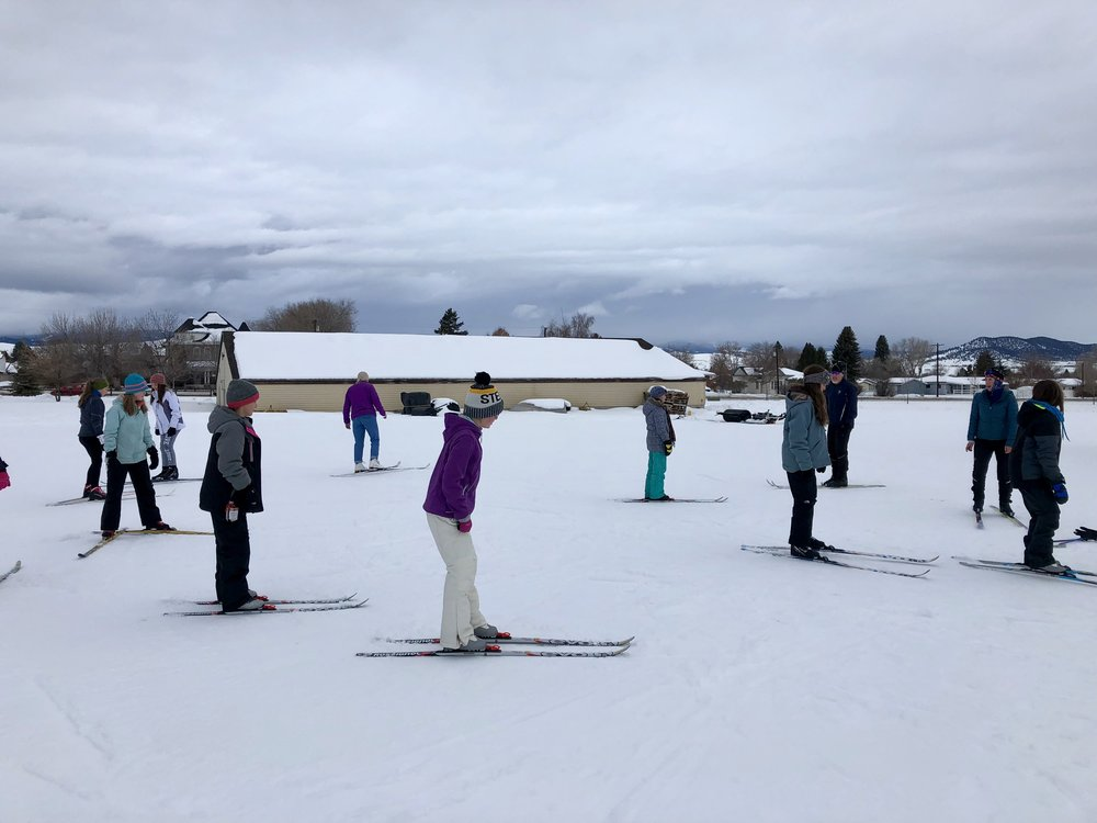 Girls learned to cross-country ski during the Winter 2018 session thanks to Carl and Andree Anderberg and  the Base Camp .