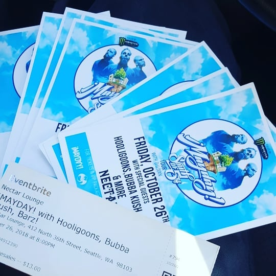 We got tickets on deck to see @hooligoonsmusic rock the stage with the one and only @maydaymusic Oct 26th doors at 8 presales are only $13. RENTNAM in the building! Come be part of the movement!!! Slide in the DM's we deliver tickets GET YOURS BEFORE THEY ARE GONE!!! . . . . . . . #mayday #strangemusic #hooligoons #hooligoonmovement #seattle #seattlehiphop #rentnam #pnw #nectarlounge #goonshit #music #livemusic #southof5thtour #myndthavillain #lexlingo