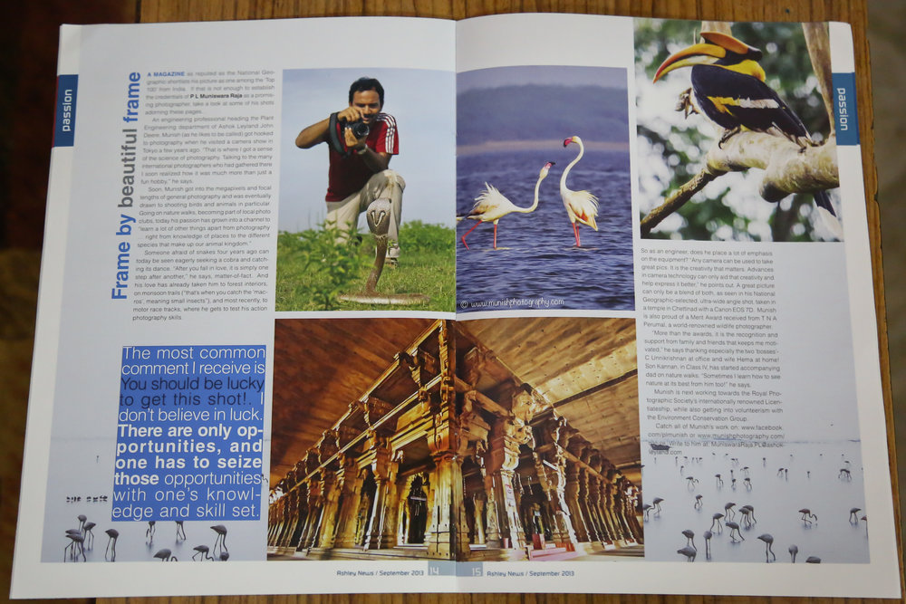 An article on my photography journey in ASHLEY - Ashok Leyland in house magazine.