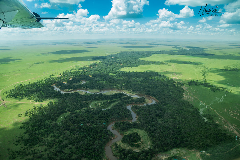 See how green Mara by November. A View thro' window of our Safari flight, just before landing.