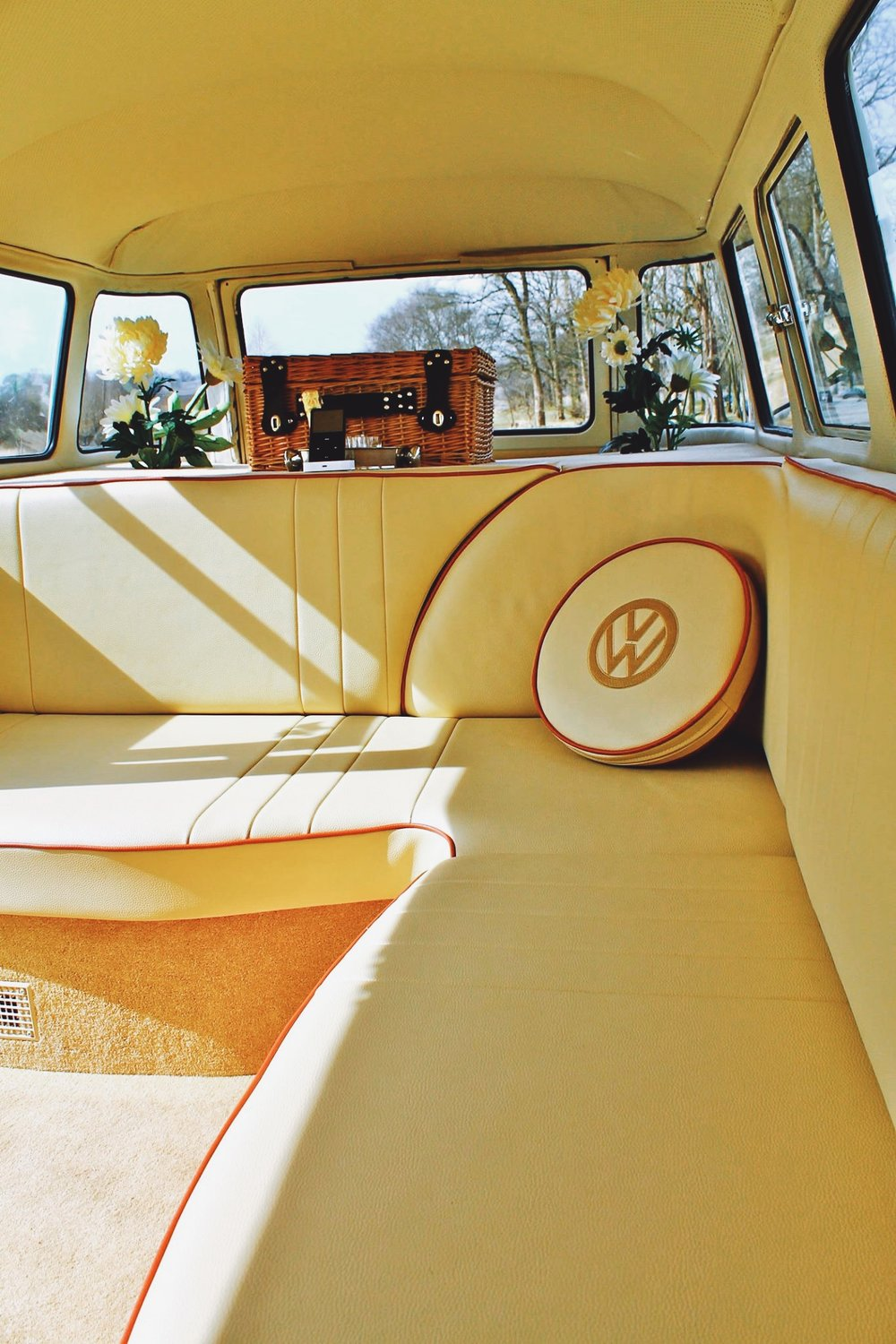 The beautiful bespoke leather seating in our camper vans
