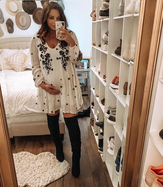 Getting these boots off my swollen feet will be reeeeallll interesting later. 😜 Off to #valentinesday dinner with Luke! ❤️ #ootd #smalltownbumpstyle #maternitystyle