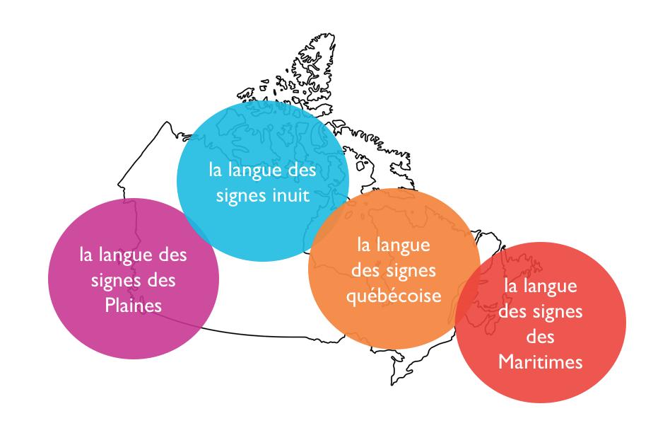 Un graphique illustrant les langues des signes: la langue des signes des Plaines, la langue des signes inuit, la langue des signes québécoise, la langue des signes des Maritimes