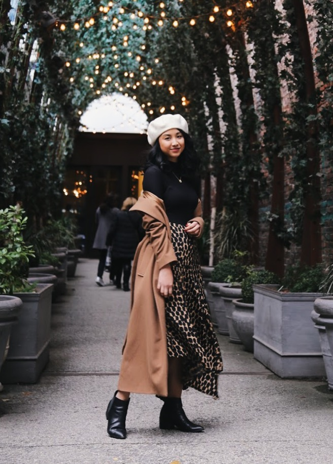 Mango coat // Uniqlo turtleneck bodysuit // WhoWhatWear skirt via Crossroads Trading // Asos beret // Chinese Laundry booties    Photography by    Kit Michele