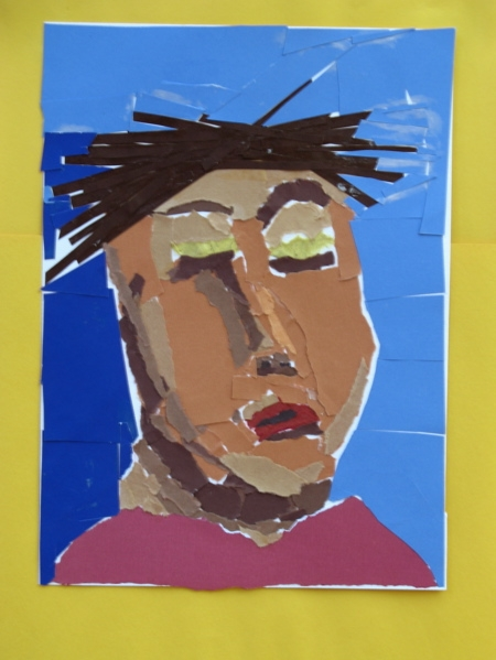 Torn paper portrait collage by middle school student.