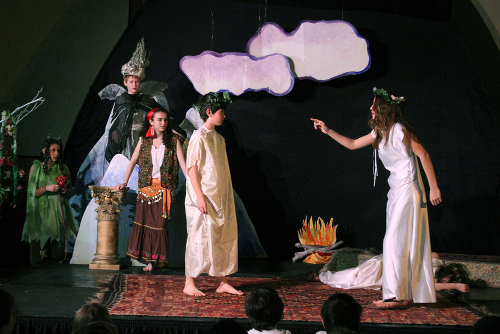 Middle school students perform William Shakespeare's  A Midsummer Night's Dream