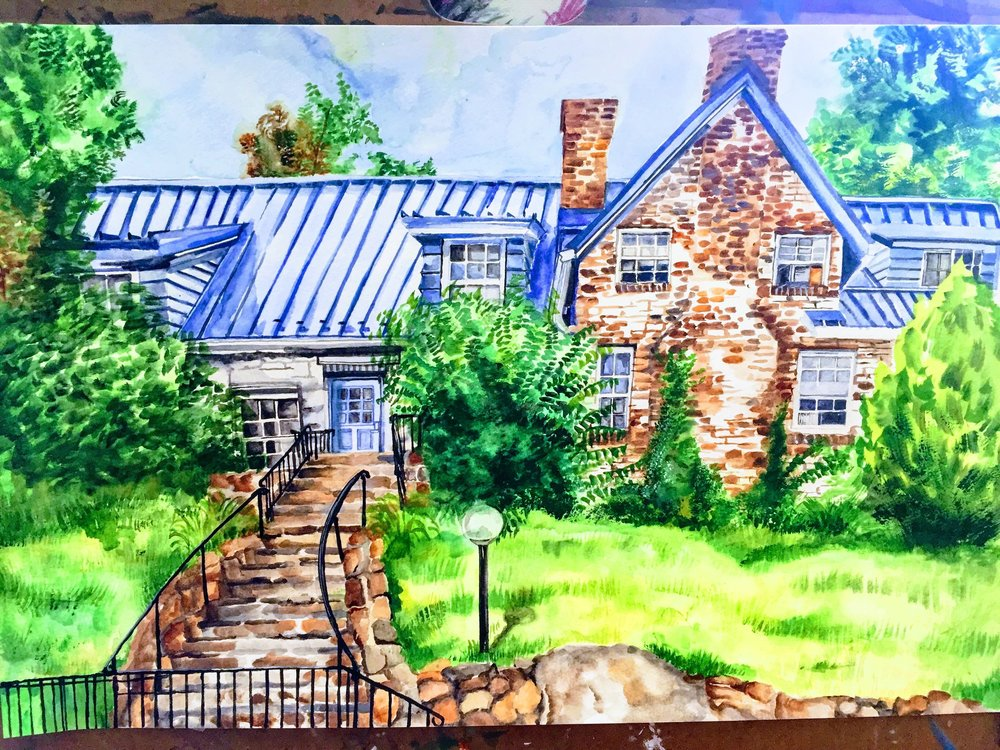 Anabel donated this painting she did of Blue Rock School which hangs in the Main Building entryway.