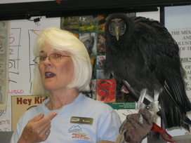 Kathy with feathered friend Fabio at Amicalola