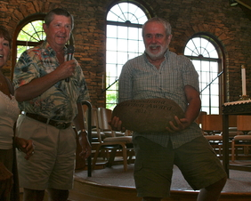 Ron presents Larry Miller with 2011 Woodland Garden Award
