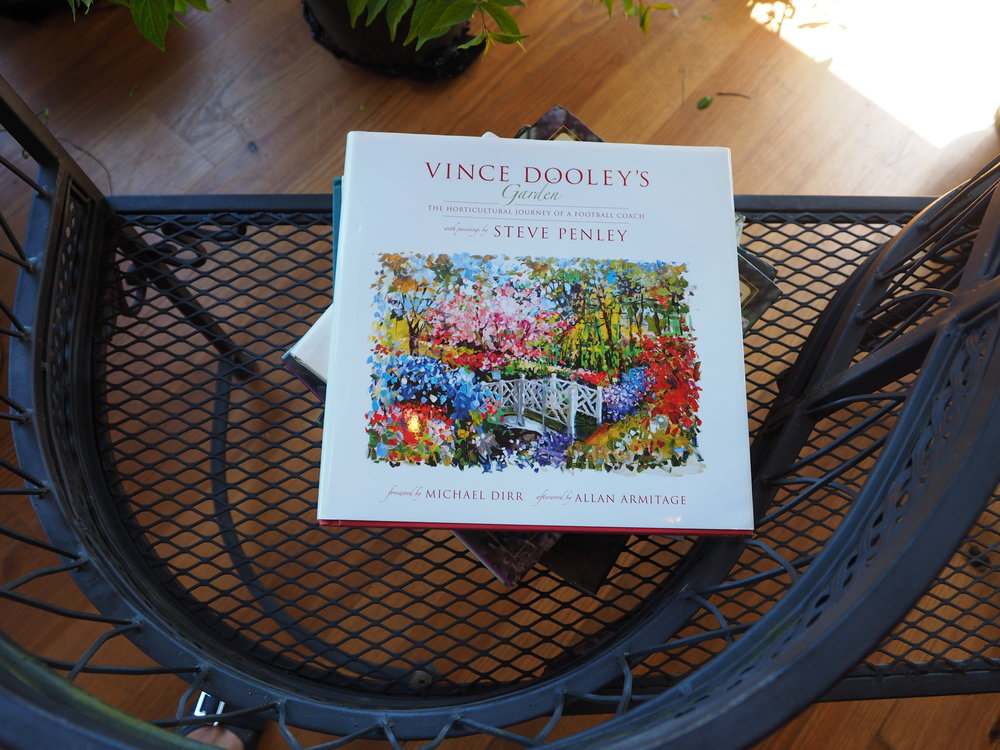 Vince Dooley's book about his own legendary garden was on display.