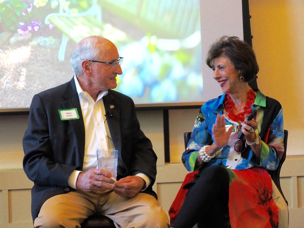 Dooley and his wife, Barbara, kept the party entertained with humorous stories about his gardening adventures and her witty take on his gardening life.