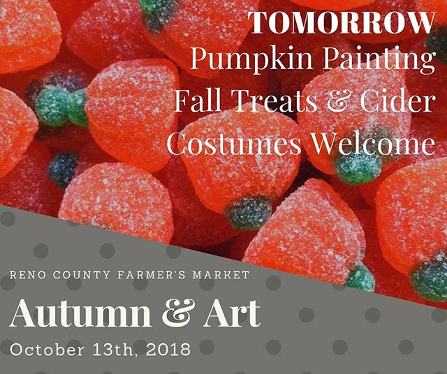 🍪🍁 FREE FAMILY EVENT🍪🍁 __________________________________________  TOMORROW: Kids (and big kids too!), come in your Halloween costumes ready to paint pumpkins, drink cider, eat sweet treats from our local bakers, and have fun!  __________________________________________  JELLIES, BAKED GOODS, PUMPKINS, GOURDS, SPINACH, AND MORE! __________________________________________ ~Live Music~ Dale Conkling, 9am to 11am. __________________________________________  #FarmersMarket #RenoCountyFarmersMarket #Hutchinson #Kansas #EventsNearMe #FreeEvents #Fall #Winter #Summer #ShopLocal #EatLocal #Hutchinfun #SmallBusiness