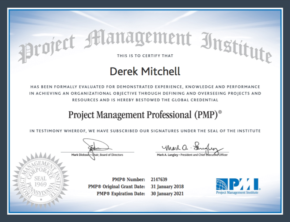 Pmp Certification Project Management Portfolio