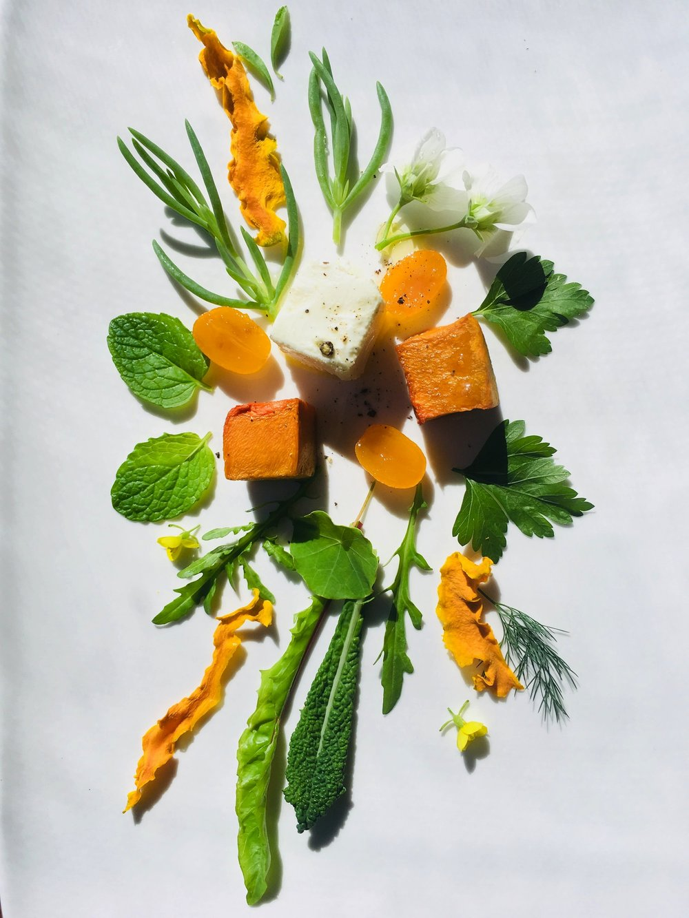 Pickled cumquat salad with roast pumpkin and goats curd