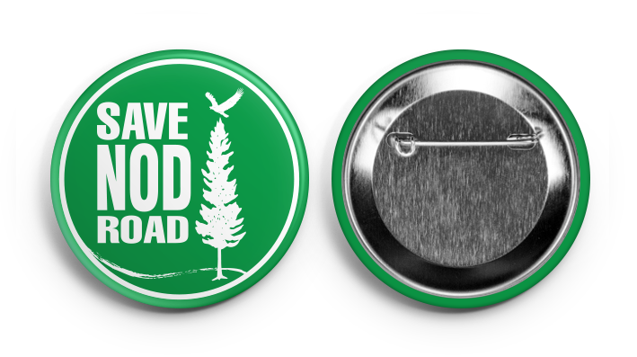"Button - $1  Show your support wherever you go with this attractive 2"" Save Nod Road button. Available for pickup at the Pickin' Patch between 9am and 5pm daily. Special orders also available for delivery to your home in the greater Avon area. Send an email to  contact@savenodroad.org"