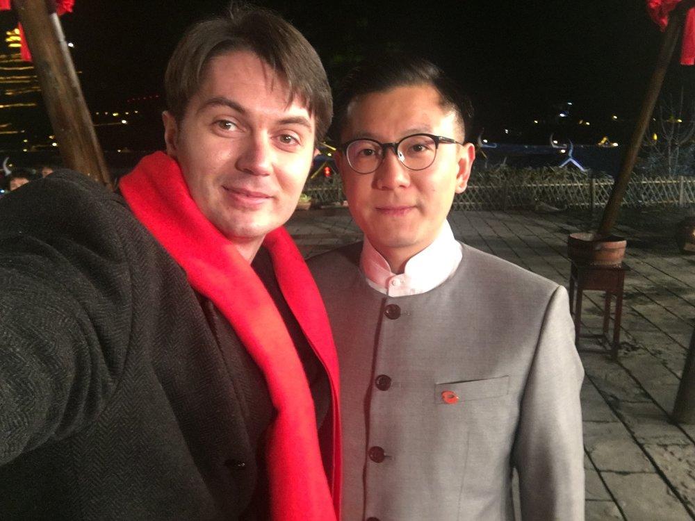 Victor Migalchan and Wang Haoyang in Feng Ga Shan