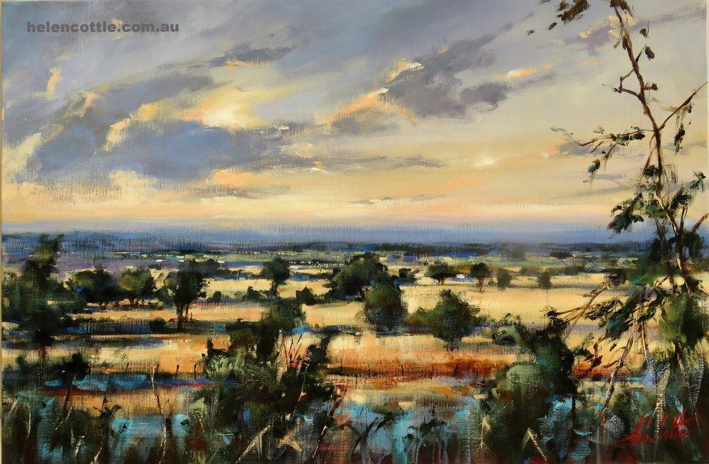Summer evening memory Acrylic on linen 60cmx90cm By Helen Cottle.JPG