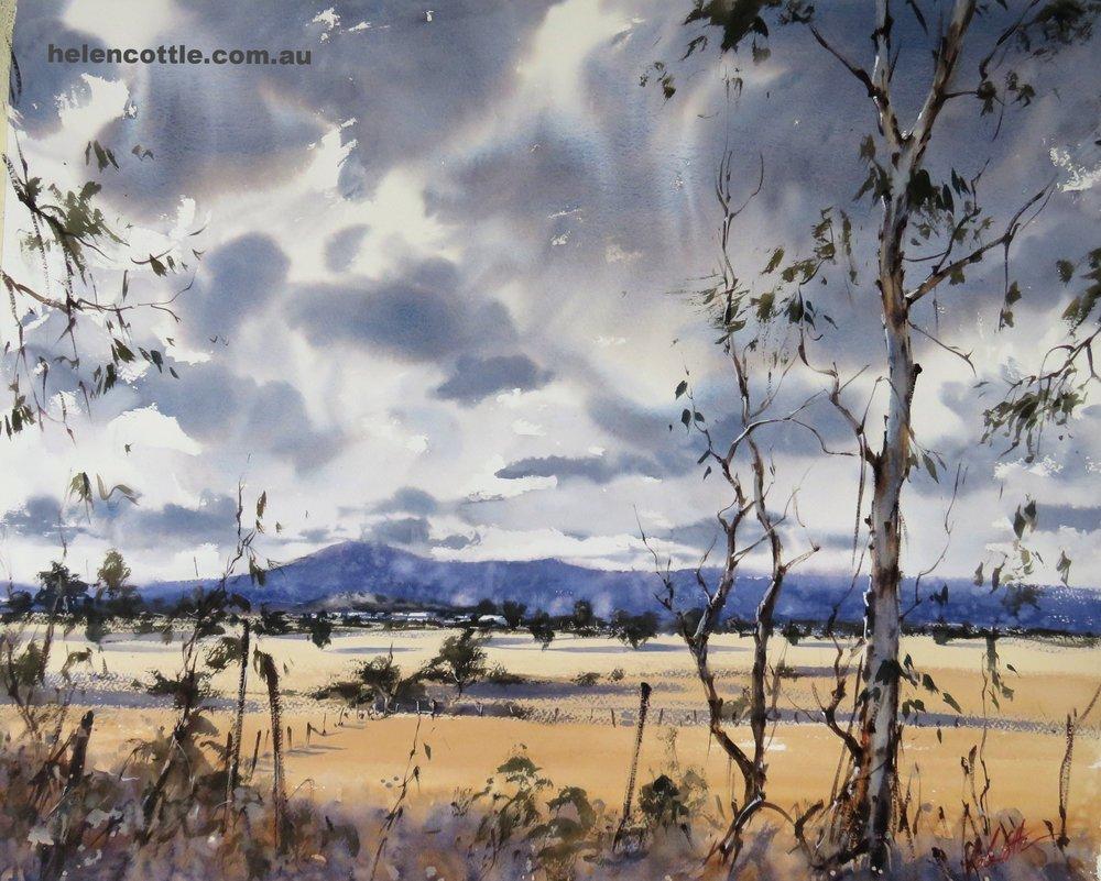Summer rain over Mount Macedon Watercolour 50x64cm By Helen Cottle.JPG