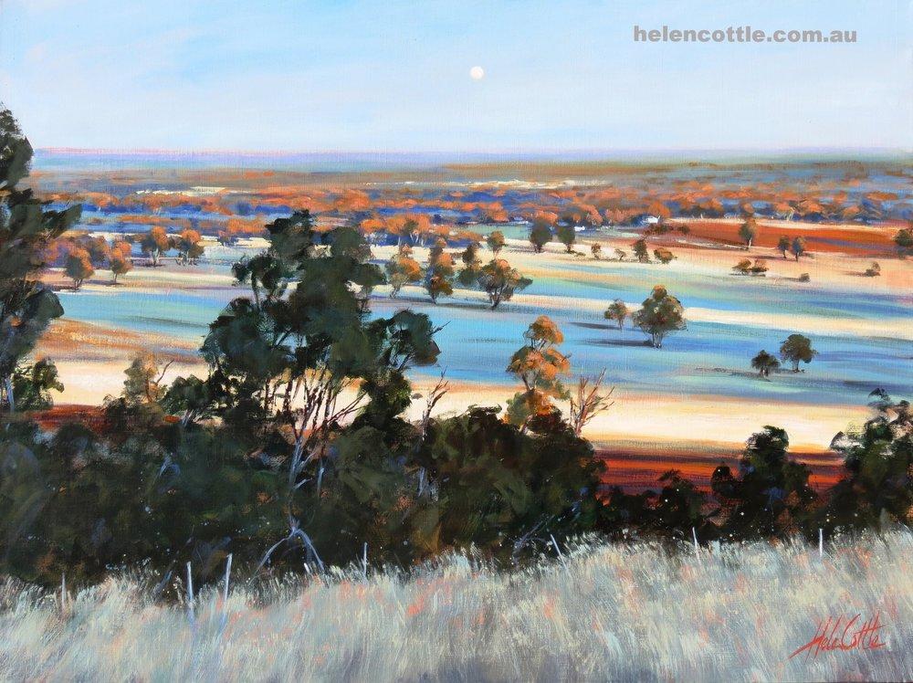 Dusk moonrise,from Mount Major Dookie. Acrylic on linen 91cmx1.2m By Helen Cotlle.JPG