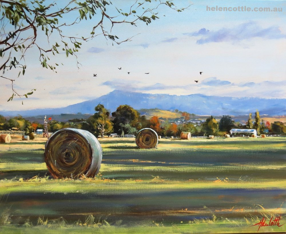 Rural life, Macedon Ranges. Acrylic 65x80cm By Helen Cottle.JPG