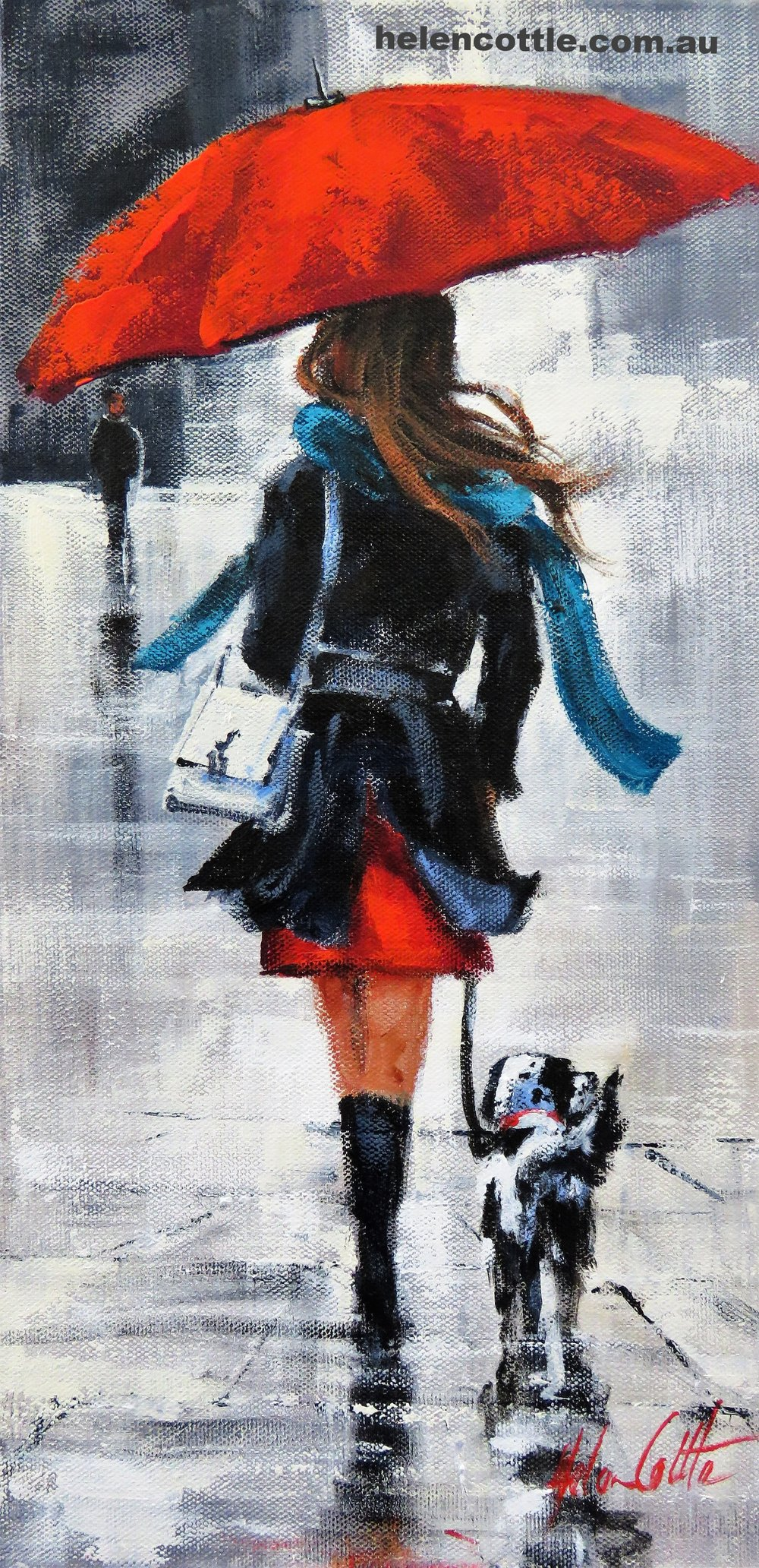 Wednesday Walk Acrylic on canvas 40x20cm By Helen Cottle.JPG