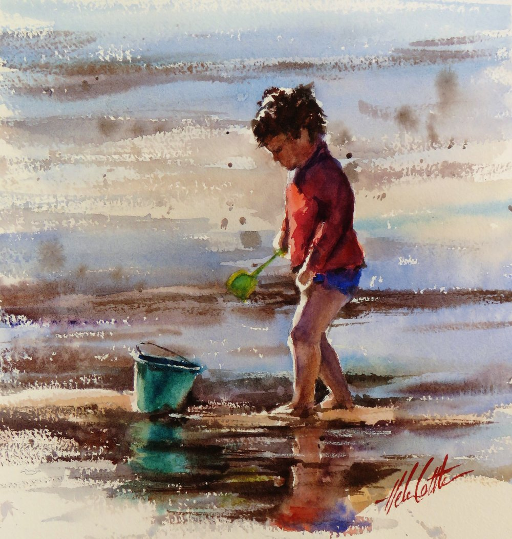 ON THE BEACH 1 WATERCOLOUR 42X42CM BY HELEN COTTLE.JPG