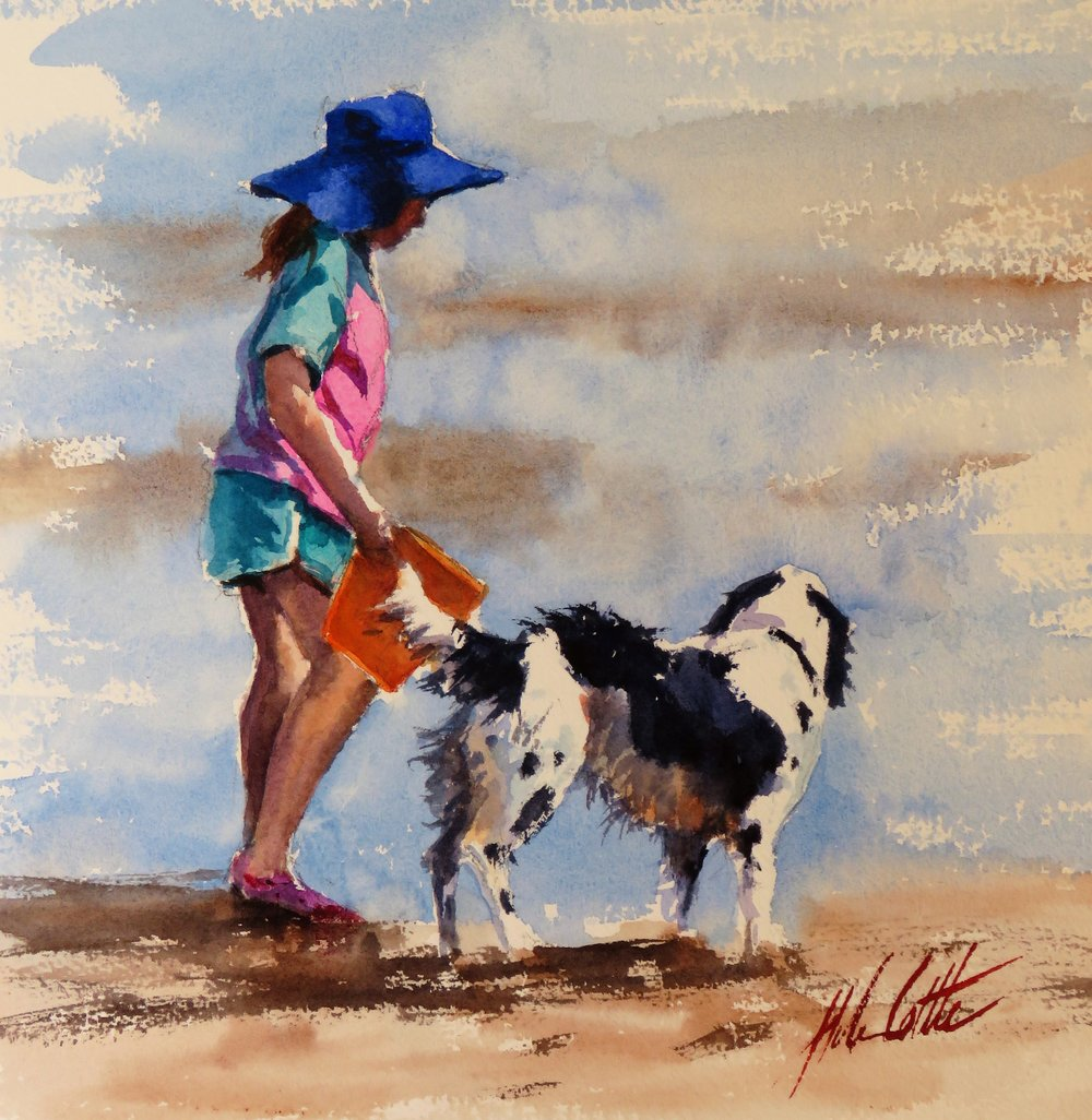 ON THE BEACH 2 WATERCOLOUR 42X42 BY HELEN COTTLE.JPG