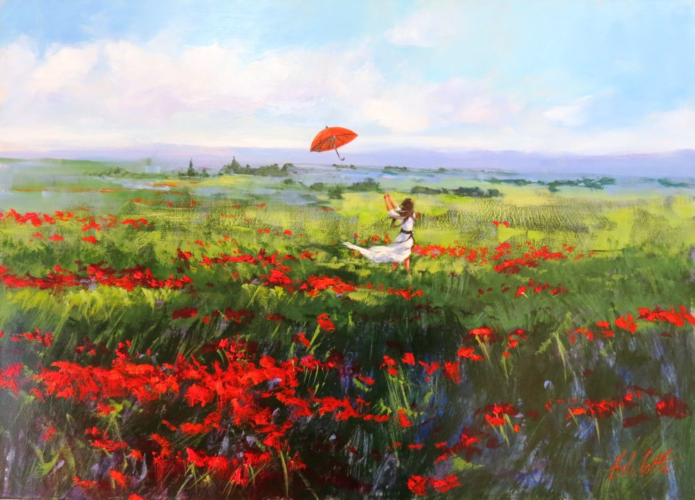 3. In a field of red Acrylic 72x52cm.JPG