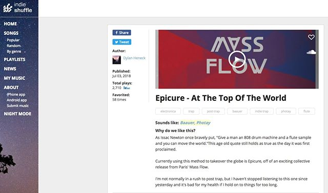 👐 @indie_shuffle is talking about @epicuremusic 💘 #massflowcrew #indieshuffle