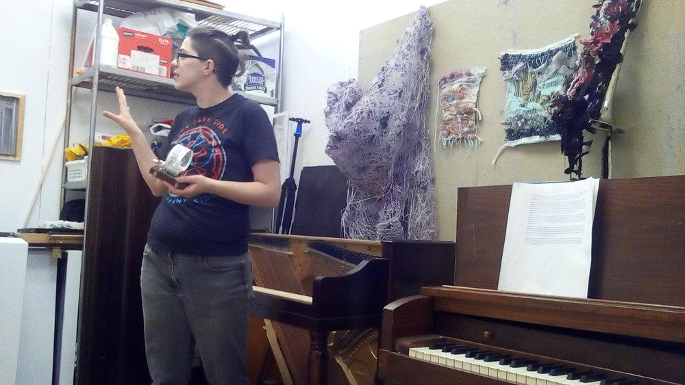 Image of Erin King in Her studio.